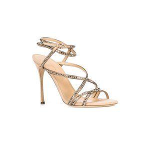 Sergio Rossi Nude Swarovski Crystal Studded Sandal